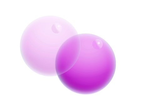Couple of purple bubbles isolated on white background photo