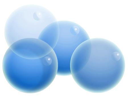 Group of blue transparent balls isolated on white background photo