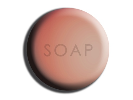 cleanse: Skin pink rounded soap isolated on white