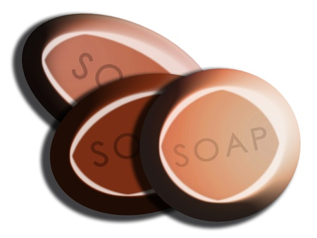 carved letters: Orange and brown oval and circular soap set on white