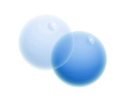 Two blue soap bubbles on white backdrop photo