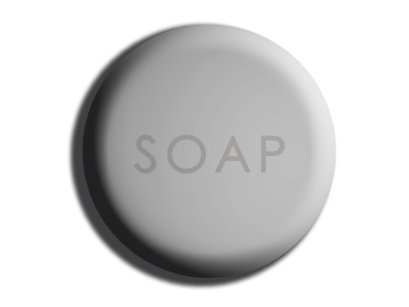 cleanse: Clay soft rounded 3d soap isolated on white