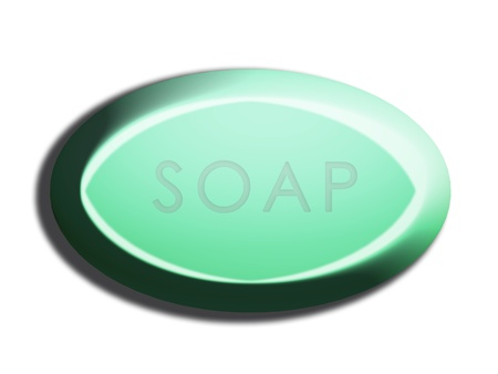 carved letters: Green oval 3d soap isolated illustration on white