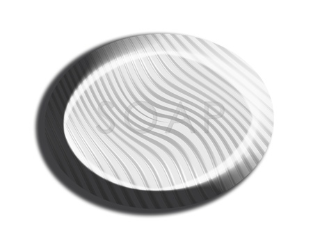 Elegant clay silver 3d oval soap illustration isolated on white illustration
