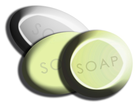 Algae light green spa soaps set isolated on white photo
