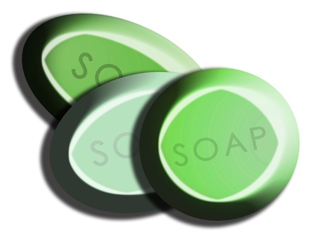 Green soaps in set of three tones and shapes overlayed and isolated on white photo