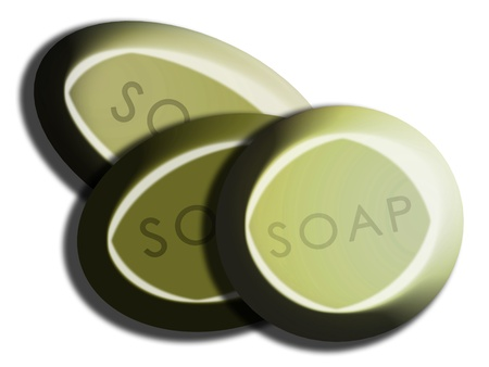 carved letters: Olive green soaps in set of three overlayed and isolated on white