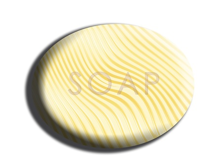 Oval striped yellow 3d soap illustration on white illustration