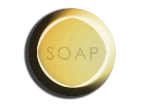 Yellow circular 3d soap on white photo