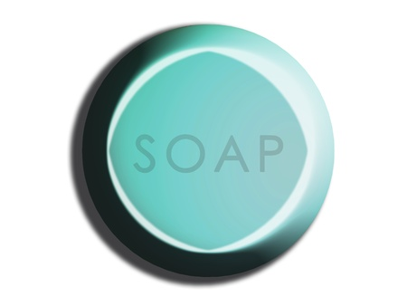 Light cyan blue circular soap 3d isolated illustration on white illustration