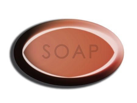 cinnamon: Brown cinnamon oval soap 3d isolated illustration on white