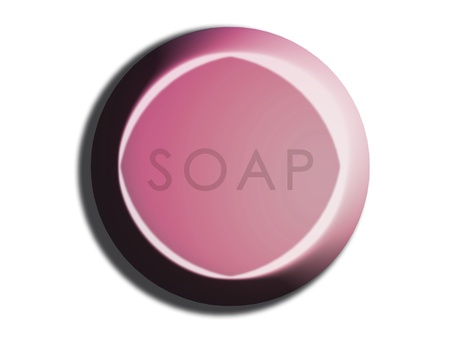 carved letters: Pink circular 3d soap isolated illustration