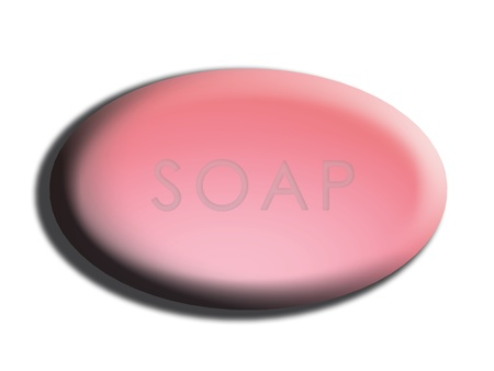 Oval pink soap isolated on white photo