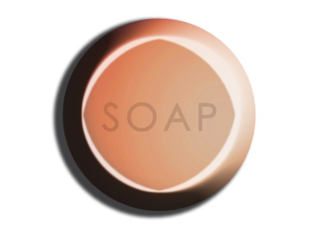 carved letters: Orange circular soap illustration on white Stock Photo