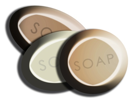 cleanse: Beige set of 3d soaps illustration isolated on white