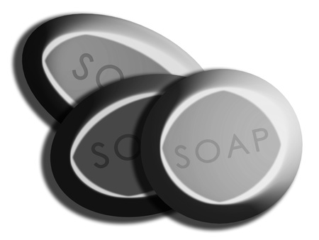 personal care: Clay set of soaps illustration for skin personal care isolated on white Stock Photo