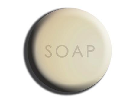 creamy: White circular creamy soap isolated illustration