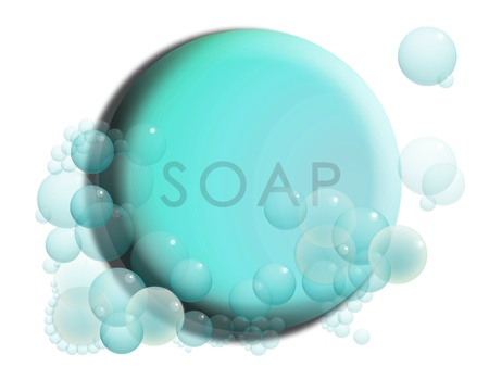 transparence: Turquoise blue circular soap illustration with bubbles isolated on white