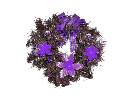corona navidad: Plata y violeta corona de Navidad aislado en blanco