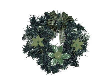 corona navidad: Sobria corona de Navidad verde aislado en blanco