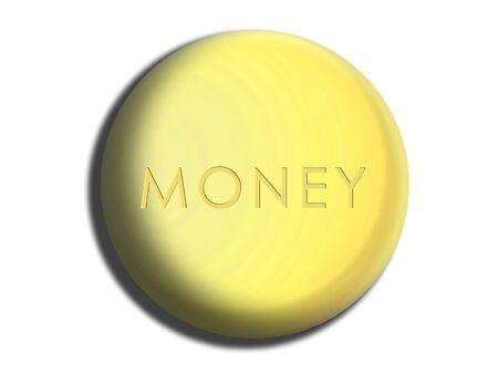 cleanse: Soap to clean dirty money conceptual isolated illustration image Stock Photo