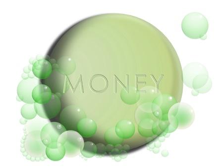 money laundering: Il riciclaggio di denaro immagine concettuale con una moneta del dollaro verde con le bollicine