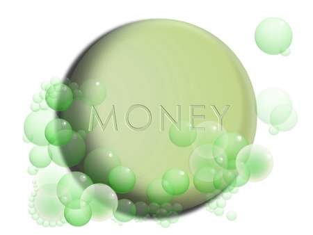 transparence: Money laundering conceptual image with a dollar green coin with bubbles