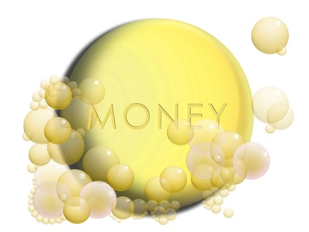 Money laundering conceptual image with a coin with soap bubbles photo