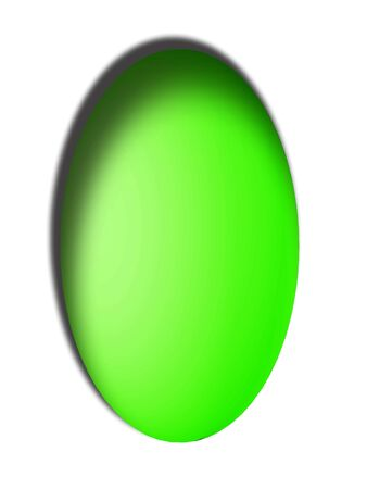 Intende light green egg button in vertical white background photo
