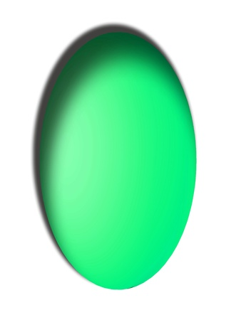 Brilliant green vertical egg with shadow isolated on white photo