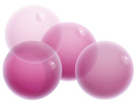 Four purple soap bubbles isolated on white Stock Photo - 20652402
