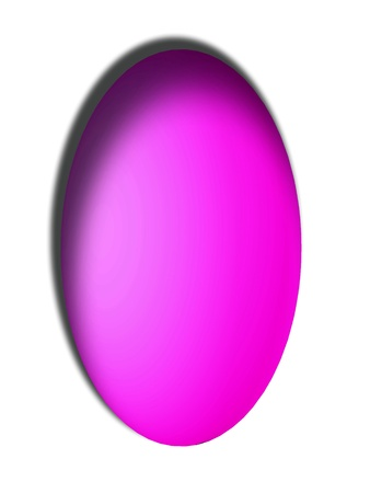 Pink magenta egg vertical button isolated on white photo