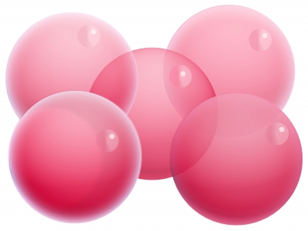 Five red transparent x-mas balls of bubbles isolated on white Stock Photo - 20652445