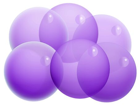 Group of six violet transparent balls of bubbles isolated on white photo