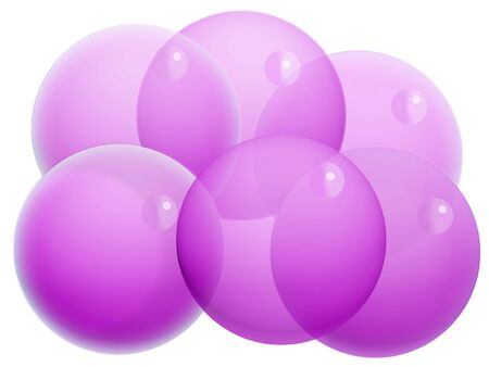 Six purple xmas transparent balls of bubbles isolated on white photo