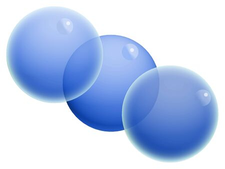 Three blue transparent balls isolated on white photo