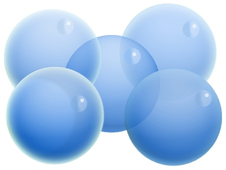 Five transparent balloons of water isolated on white photo