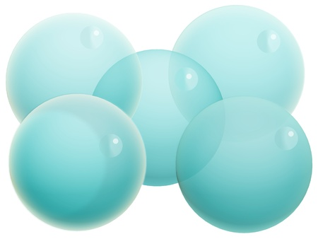 Group of five cyan blue bubbles isolated on white photo