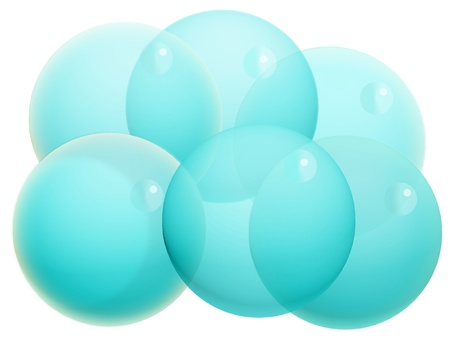 Six transparent turquoise blue xmas bubbles isolated on white photo