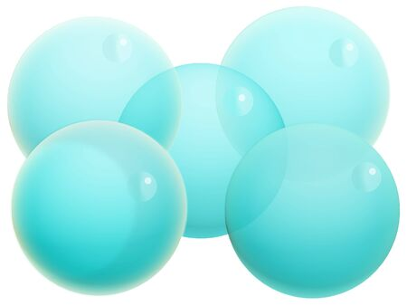 Five turquoise crystal Christmas balloons isolated on white Stock Photo - 20652396