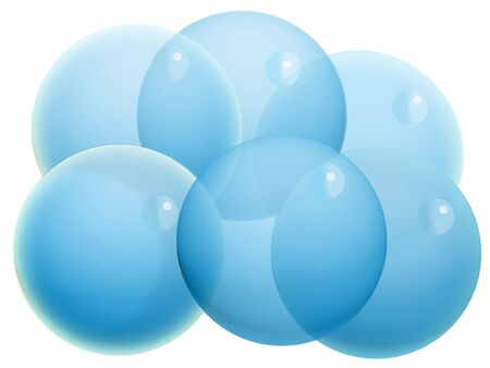Six blue transparent crystal Christmas balloons isolated on white Stock Photo - 20652449