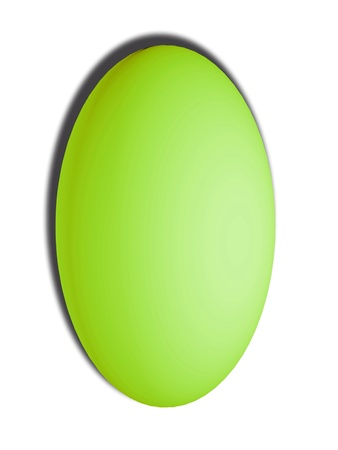 Light green egg oval vertical button isolated on white photo