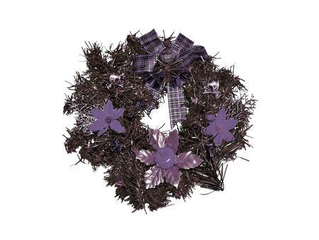 corona navidad: Sober plata y p�rpura c�rculo corona de Navidad aislado en blanco