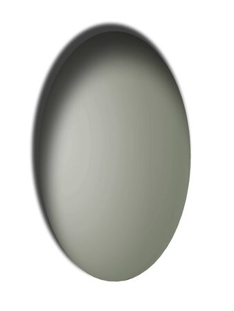bn: Grey egg vertical button with shadow isolated on white background