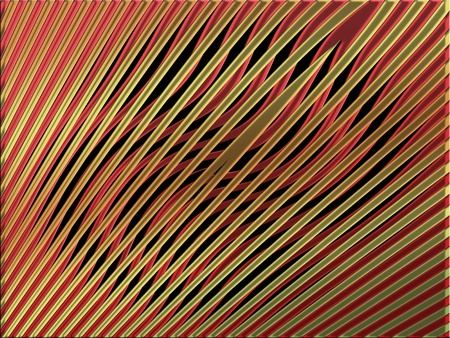 Gold stripes over black curves on red background photo