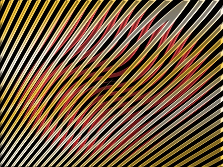 metalized: Straight gold lines over red waves on black background