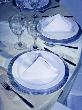 Circular blue wedding table close up photo