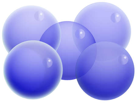 Five blue Christmas transparent balls isolated on white photo