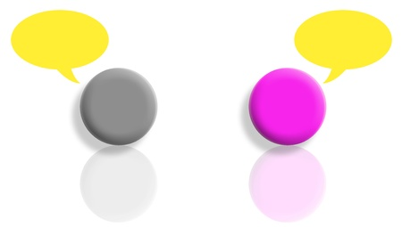 Pink and black tones talking with yellow speech bubbles photo