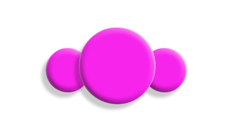 One big two small, pink balls on white background photo